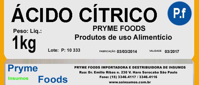 Acido Cítrico 1 Kg Quilo Insumos Produtos para alimentos fracionados por quilo ou Gramas.