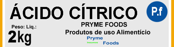 Acido Citrico Anidro 2 Kg. Quilo antioxidante, conservante, realçador de sabor citrico